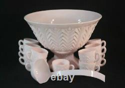 Jeanette Shell Pink Punch Bowl 16 pc. Set Feather Pattern Vintage 1950's