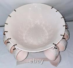 Jeannette SHELL PINK 30 Pc PUNCH BOWL SET COMPLETE PINK LADLE