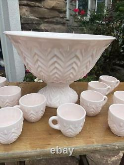 Jeannette SHELL PINK Feather PUNCH BOWL Set 12 Cups & Base