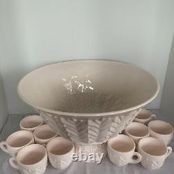Jeannette Vintage Pink Milk Glass Punch Bowl Set Pedestal & 12 Cups Vintage