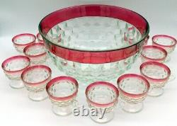 Kings Crown Ruby Red Flash Cubist Punch Bowl 12 Footed Cups With ladle