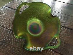 Kralik Punched Handle Art Nouveau Iridescent Double Fold Rim Art Glass Bowl Vase