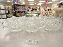 L E SMITH 18 PIECE BUTTON & DAISY CRYSTAL PUNCH BOWL SET 17 CUPS