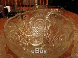 L. E. SMITH SLEWED HORSESHOE PINWHEEL STARS PUNCH BOWL, Glass Ladle 18 CUPS