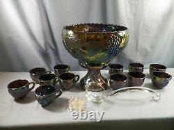 L. E. Smith Amethyst Carnival Glass GRAPE Punch Bowl Set 12 Cups Ladle Bowl Base