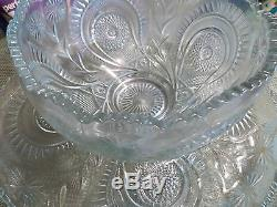L E Smith Crystal Slewed Horseshoe 15Pc Punch Bowl Set with Under Plate Cups Ladle