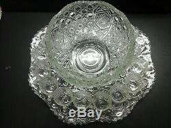 L. E. Smith Daisy And Buttons 12.5 Punch Bowl, 23 Underplate And 12 Cups