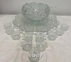 L. E. Smith Daisy Hobstar And Button Punch Bowl Set 15 Pieces Free Shipping