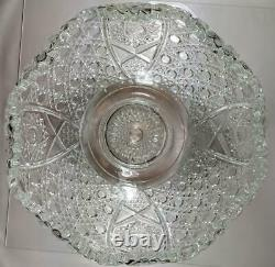 L. E. Smith Daisy and Button Hobstar Crystal Punch Bowl Set 12 Cups Original Box