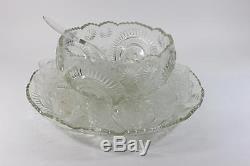 L E Smith Glass Clear Pinwheel & Star Slewed Horseshoe 15 pc Punch Bowl Set