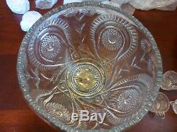 L E Smith Glass Clear Pinwheel & Star Slewed Horseshoe 15 piece Punch Bowl Set