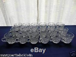 L E Smith Glass Clear Pinwheel & Star Slewed Horseshoe 20 pc Punch Bowl Set