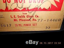 L. E. Smith Glass Co. Daisy & Button Pattern Punch Bowl & 18 Cups withOriginal Box