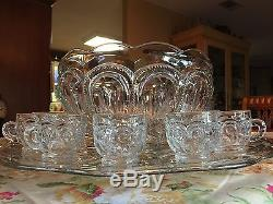 L. E. Smith Moon and Star Punch Bowl Set