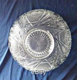 L E Smith Pinwheel & Star Punch Bowl with Metal Stand & Ladle