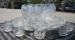 L E Smith Pinwheel Star Slewed Horseshoe Radiant Daisy Glass Punch Bowl & 24 cup