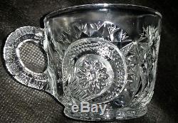 L E Smith Pinwheel & Stars EAPG Slewed Horseshoe Punch Bowl Set 20 CUPS. HUGE