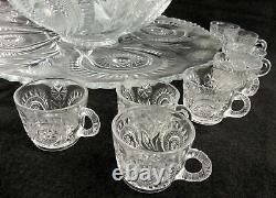 L E Smith Pinwheel & Stars Eapg Slewed Horseshoe Punch Bowl Set 16 Cups. Huge