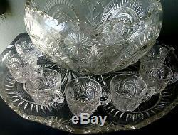L. E. Smith Slewed Horseshoe Complete 15 Pc Punch Bowl Set Pinwheel & Stars