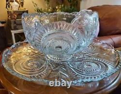 L. E. Smith Slewed Horseshoes Punch Bowl Cups & Glass Ladle