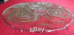 L. E. Smith Very Large Glass Punch Bowl & Underplate 22 Wide Slewed Horseshoe