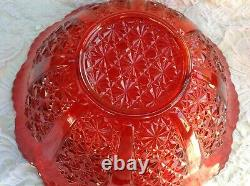 L. G. WRIGHT EAPG RED PUNCH BOWL & CUPS 9pcs, DAISY & BUTTON PATTERN