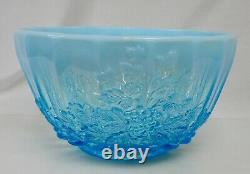 L G Wright Blue Opalescent Glass Punch Bowl and 12 cups 82511