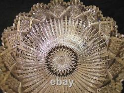 LARGE ABP American Brilliant Cut Glass Crystal Punch Bowl 15