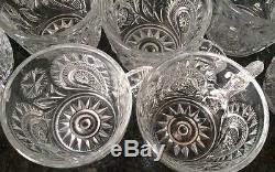 Large Vintage Antique Eapg Glass Punch Bowl 12 Cups & Tray Party Set