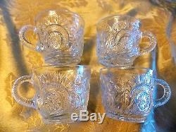 LARGE VINTAGE ANTIQUE EAPG GLASS PUNCH BOWL-14 CUPS-GLASS LADEL-PARTY SET
