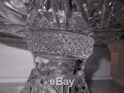 LARGE Vintage HEAVY 15 TALL CUT CRYSTAL PUNCH BOWL BEAUTIFUL DESIGN, Marked