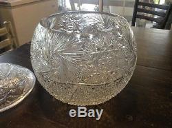 LARGE Vtg CUT GLASS 2 Piece PUNCH BOWL