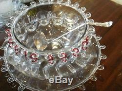 LARIAT PUNCH SET Bowl 22 Underplate 12 cups Ladle 15 pcs+ RED Hks