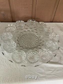 LAST CALL! FOSTORIA American Large Punch Bowl-Large Tray-12 cups EUC