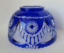 LAUSITZER Cobalt Blue Cut to Clear Crystal Punch Bowl German Democratic Republic