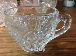 LE Smith Vintage Crystal Punch Bowl w Base and 36 Glasses