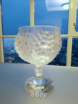 Lalique Antilles Crystal Grape Cluster Pedestal Punch / Fruit Art Glass Bowl