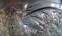 Large 13 AMERICAN BRILLIANT ERA Cut Glass PUNCH BOWL c. 1900 antique crystal