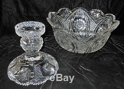 Large 2 Piece American Brilliant Cut Glass Punch Bowl 14 by 14