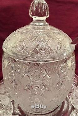 Large Ceskci Queen Anne Lace Crystal Punch Bowl w Tray, Ladle Glasses, Stirrers