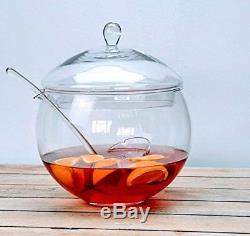 Large Clear Glass Round Punch Bowl & Ladle Punch Cordial 27cm, 4.5 litres