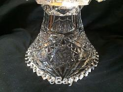 Large Cut Crystal 2pc Punch Bowl And Pedestal Hobstar 8.75 Tall Saw Tooth