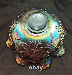 Large Dugan Amethyst Carnival Glass Many Fruits Pattern Punch Bowl