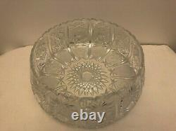 Large Lead Crystal Hand-cut Punch Bowl 12 Diameter