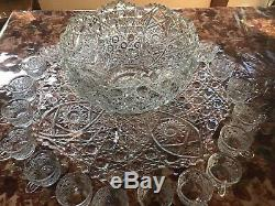 Large Lead Crystal Punch Bowl with 18 cups & Ladle. Perfect for parties