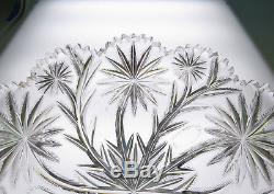 Large Signed LIBBEY Punch Bowl 12 Star & Feather Antique ABP Cut Glass American