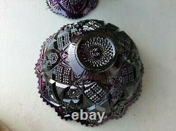 Large Vintage Imperial Glass Whirling Star Amethyst Glass Punch Bowl with Stand