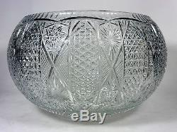 Lead Crystal Cut Glass Huge Punch Bowl Buttons and Daisies and Stars Design