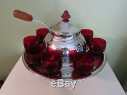 Lehman Brothers Art Deco Saturn Chromium Plated Punch Bowl With Ruby Glasses