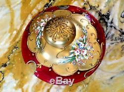 Lg. Magnificent Rare T. Murano Crystal, Red 24K Gold Leaf Punch Bowl Set Glasses